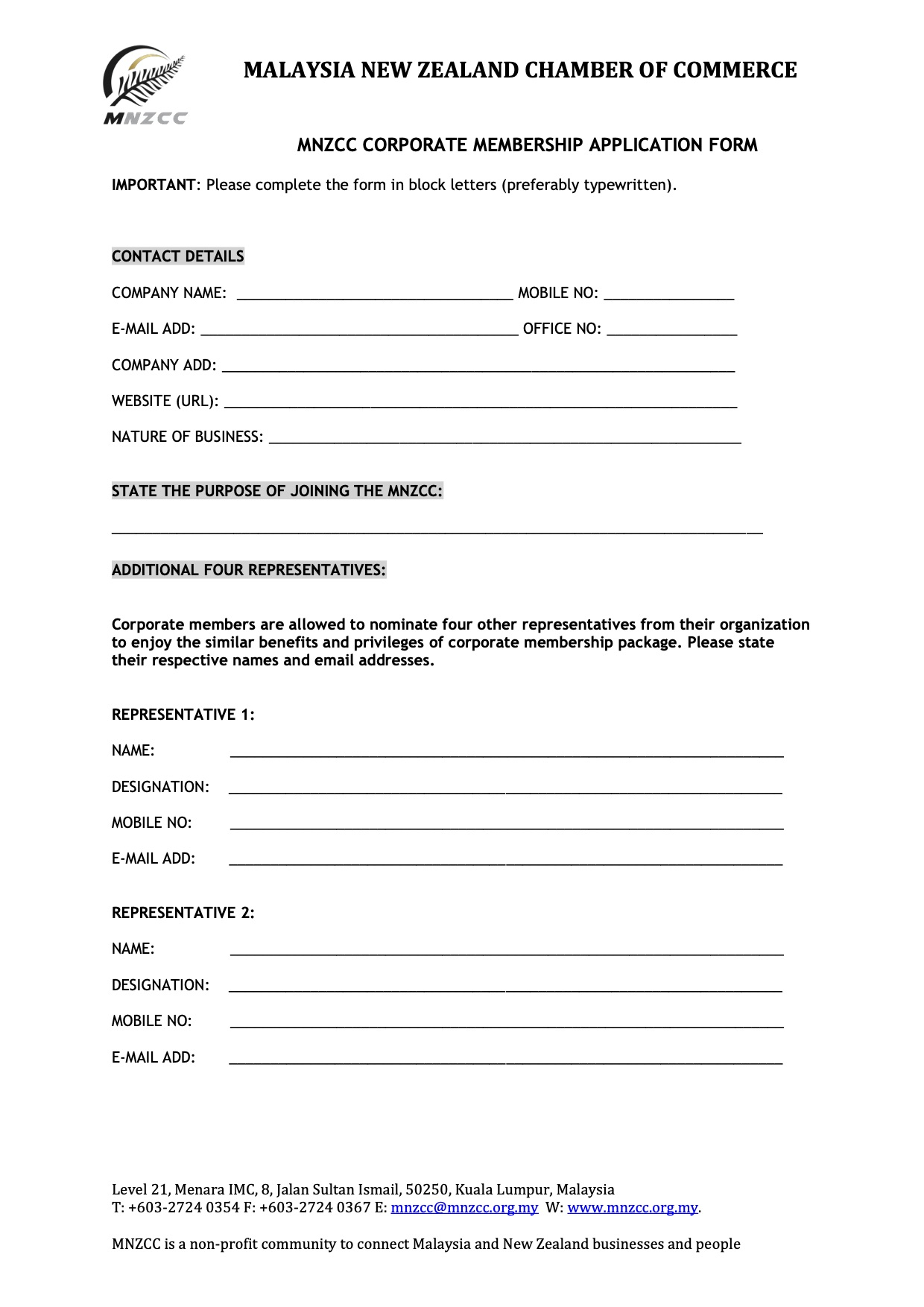 MNZCC CORPORATE MEMBERSHIP APPLICATION FORM 2020