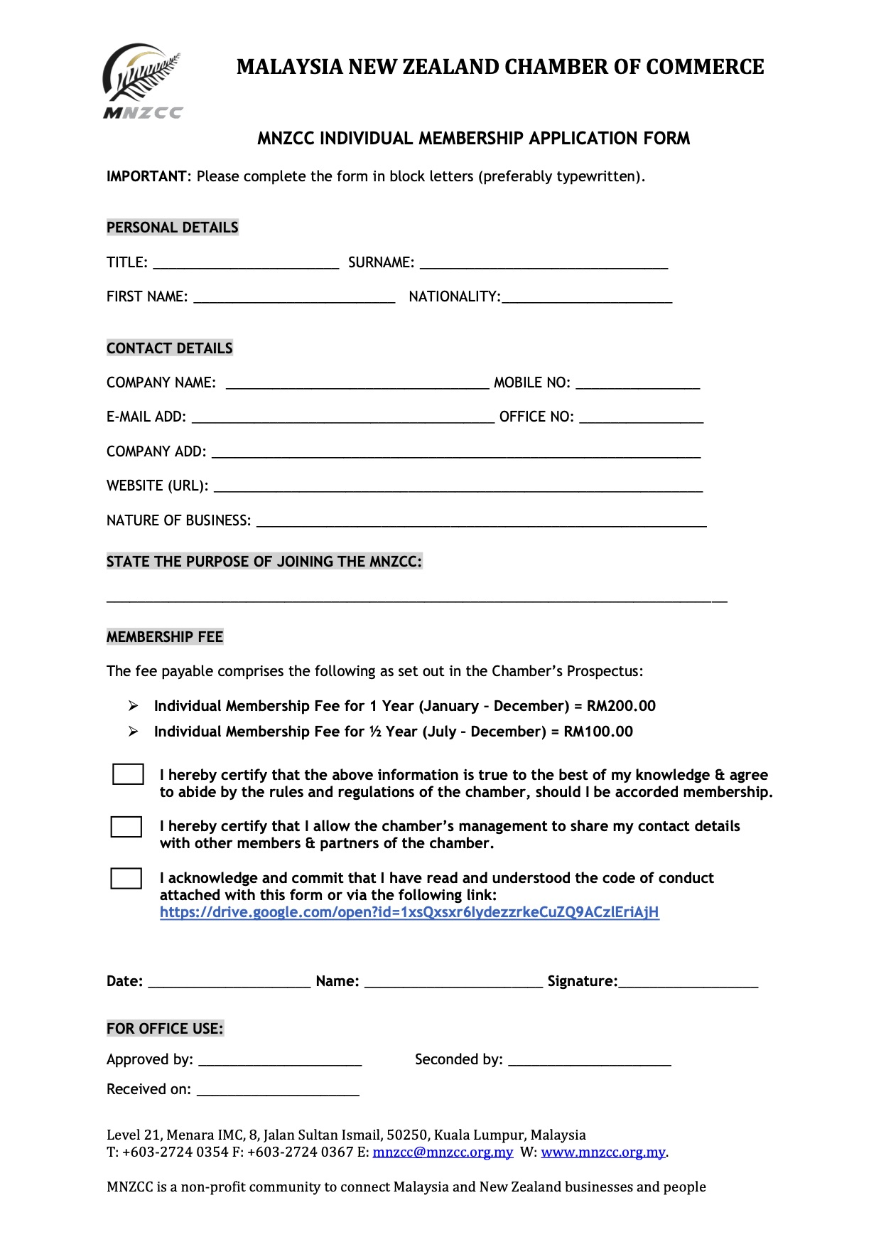 MNZCC INDIVIDUAL MEMBERSHIP APPLICATION FORM